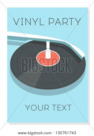 Vinyl party poster. Vector illustration. Party time