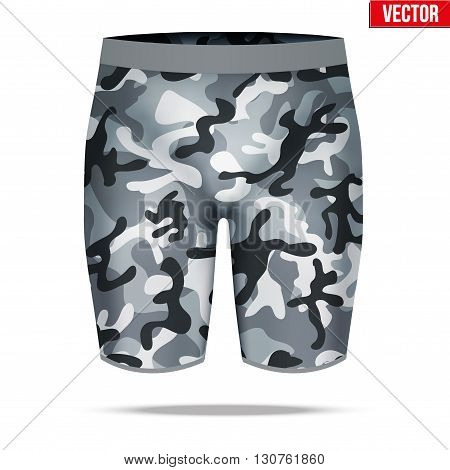 Base layer underwear compression shorts of thermal fabric in urban camouflage style. Sample typical technical illustration.  Vector Illustration isolated on white background