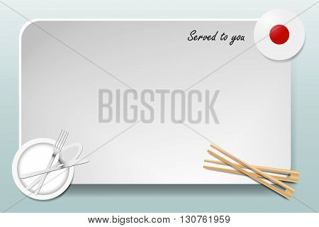 Notice board with inscription inscription Served by and with a Japanese round-flag in the corner. Plate with cutlery set and chopsticks are in the opposite corner.