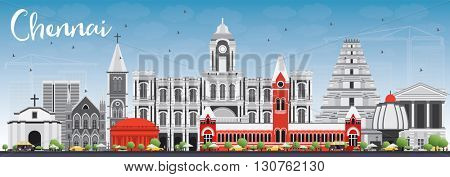 Chennai Skyline with Gray Landmarks and Blue Sky. Business Travel and Tourism Concept with Historic Buildings. Image for Presentation Banner Placard and Web Site.