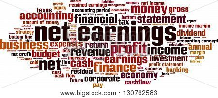 Net earnings word cloud concept. Vector illustration