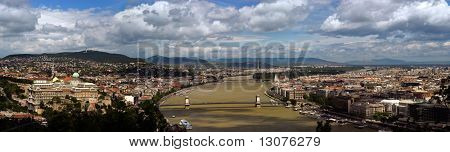 This is a panorama photo of Budapest, the capital of Hungary. It lies on both sides of the river Danube.