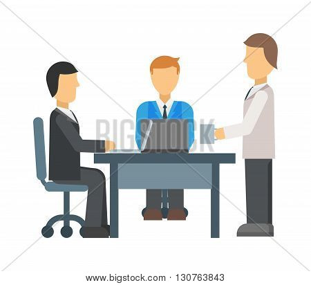 Business meeting in a cafe. Business meeting vector illustration and business meeting people office. Teamwork group business meeting and corporate business meeting professional conference.