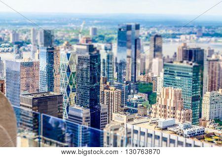 Aerial View Of Manhattan Skyline. Tilt-shift Effect Applied