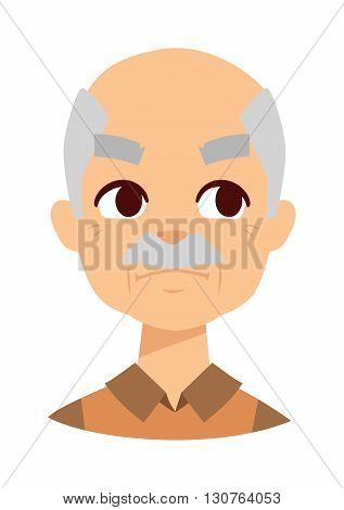 Envious man face and old envious man vector illustration. Adult isolated caucasian person jealousy envious man and anger envious man face. Business gray hair envious man, old man surprised.