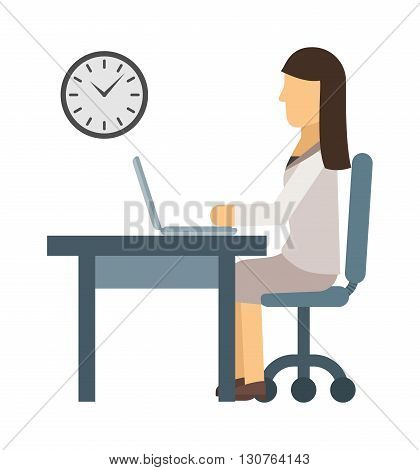 Busy young business woman working at desk typing laptop vector. Woman working computer and young woman working. Office technology woman working at desk typing laptop worker communication table.