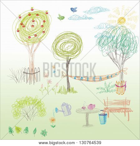 A child's drawing in vector. Summer garden with a hammock a bench near the tree.