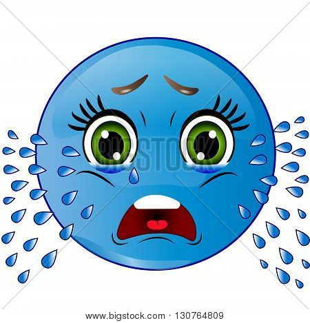 Blue smiley looks sad, is crying on white background