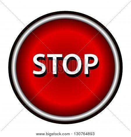 Stop icon. Internet button on white background.
