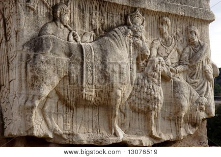 Bas relief in Roman forum in Rome