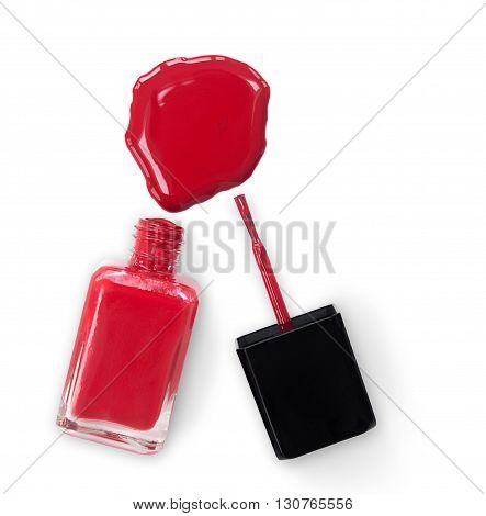 Leaked Red Nailpolish With Clipping Path