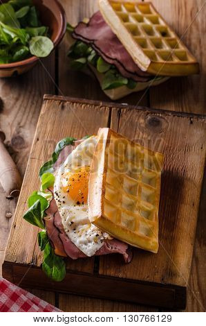Waffles Sandwich With Eggs