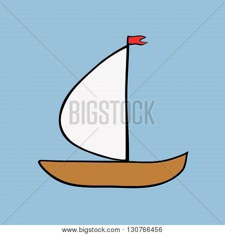 Sailboat Icon on Square Black Internet Button Original Illustration