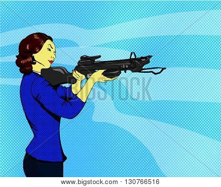 Woman with arbalest. Vector illustration in comics retro pop art style.