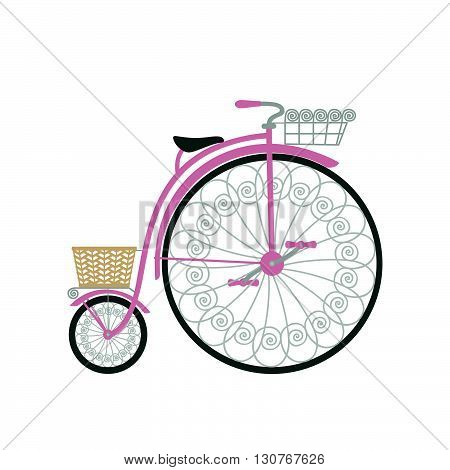 Bicycle in flat style. Retro bicycle isolated on white background. Vintage bicycle with basket. Vector illustration.