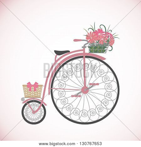 Bicycle in flat style. Vintage bicycle with basket full of flowers. Retro bicycle isolated on white background. Vector illustration.