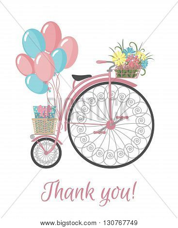 Postcard with bicycle, flowers, balloons and thank you text. Vintage bicycle with basket full of flowers. Retro bicycle isolated on white background. Vector illustration.