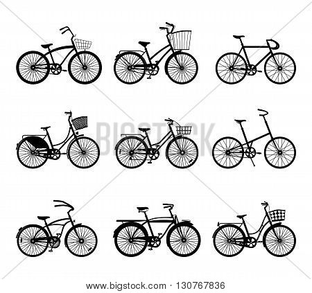 Set of retro bicycles silhouettes isolated on white background. Vintage bicycles. Old retro style. Vector illustration