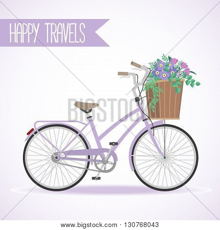 Cute bicycle with basket full of flowers in modern flat style. Travel bicycle. Greeting card with bicycle. Vector illustration