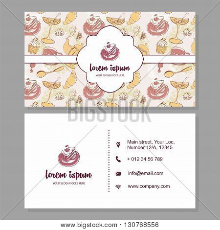 Visiting Card Or Business Card With Cute Hand Drawn Floral Pattern. Cafe Branding Logo Elements. Fly
