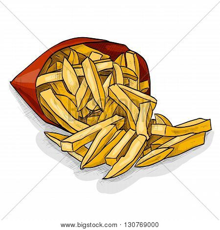 Colorful French Fries in Packet. Snacks. Fast food. Vector illustration