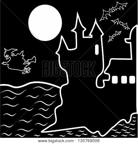 Halloween haunted castle, bats, witch and a full moon. Vector illustration