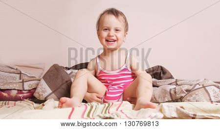 Beautiful baby girl getting ready for bed