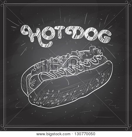 simple hot dog with ketchup and mustard and salad image isolated on a black board