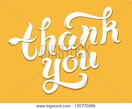 Thank you lettering on yellow background. Vector illustration