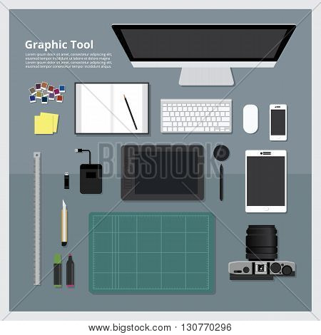 Flat design. Graphic Designer Workplace concept All Tool
