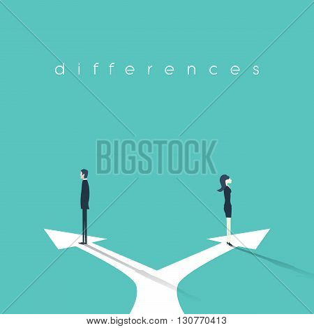 Business concept illustration of gender differences between businesswoman and businessman. Conflict, confrontation, negotiation situation. Eps10 vector illustration.