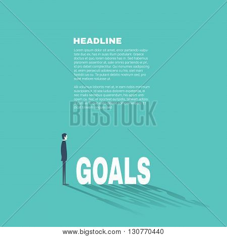 Business goals professional presentation template with businessman illustration and space for text. Flat design style. Eps10 vector illustration.