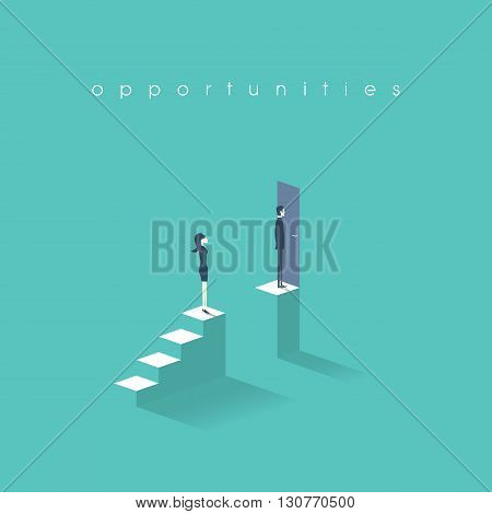 Gender equality concept with man versus woman symbol. Businessman vs businesswoman inequality in career and professional life. Eps10 vector illustration.