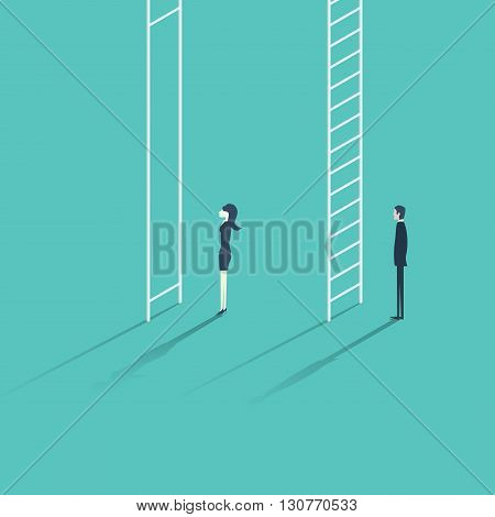 Business woman versus man corporate ladder career concept vector illustration. Gender inequality issue with different opportunities for males and females. Eps10 vector illustration.