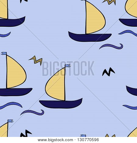seamless sailboat pattern with waves, vector illustration