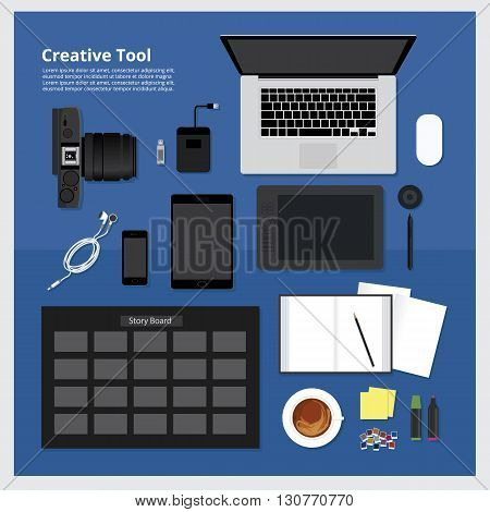 Flat design. Creative Workplace concept All Tool