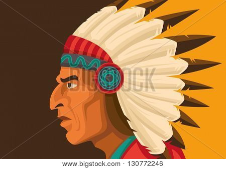 Indian chief Illustration in color. Vector illustration.