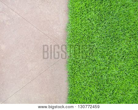 Top View of Half and Half Cement Floor and Meadow Building or Nature Concept Horizontal