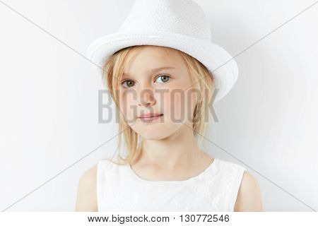 Lifestyle And People Concept. Isolated Headshot Of Beautiful Caucasian 5-year Old Female Model With