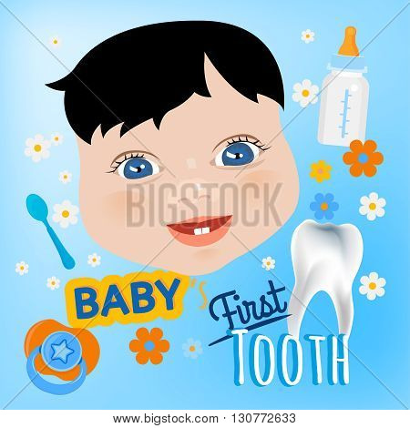 Editable vector illustration. Cute baby boy face with first teeth on a light blue background. Tooth eruption concept with  European baby portrait  in a flat style. Ideal postcard design
