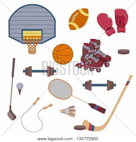 Vector set of sport objects. The composition of the sports items. Vector illustration on the theme of sport. Icons on the sports theme.  Sport Items in Vintage Style. Vector illustration