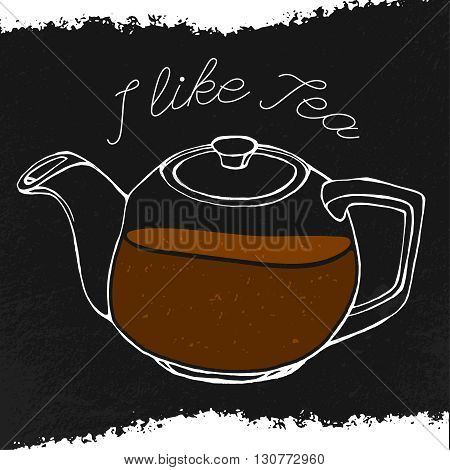 Hand drawn tea-pot image in artistic style. Vector editable illustration on a textured dark gray background. White round ceramic teapot. Menu element for cafe or restaurant