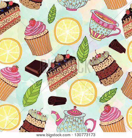 Seamless pattern with sweets and desserts. Doodle style vector.