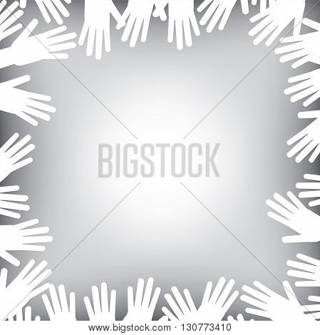 A helping hands background in black and white