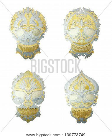 Gold Skulls. Skull ornament. Decorative skulls isolated on white background. Masks with floral pattern. Gold and Silver metal texture. 3D rendering. Good for tattoo, jewelry design