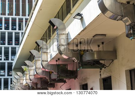 Industrial kitchen hood exterior manufacturing food background