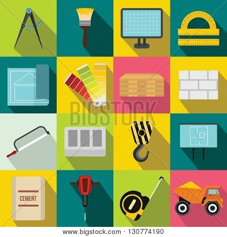 Construction icons set in flat style for any design