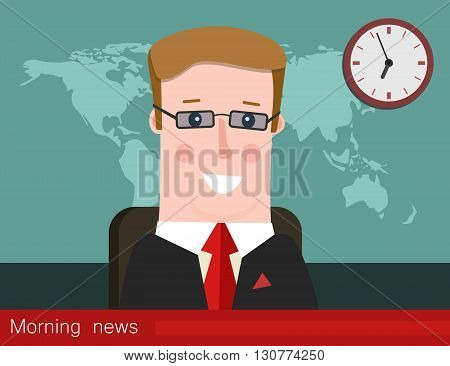 Morning news. Silhouette of a man with glasses. News announcer in the studio. Vector illustration.