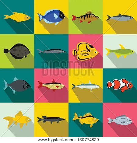 Fish icons set in flat style for any design