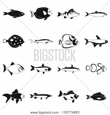 Fish icons set in simple style for any design